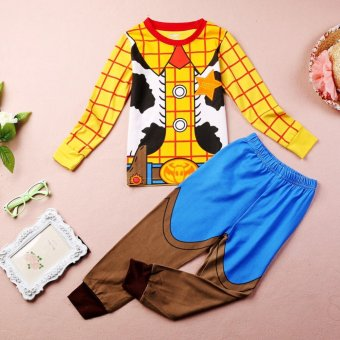 Sheriff Woody Costume Boys Sleepwear Baby Kids Cotton Pajamas 2pcsset 1~7Y
