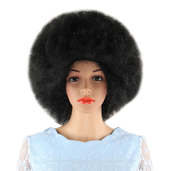 Short Black Wigs Inflated Fluffy Afro Hair for Cosplay Halloween Masquerade