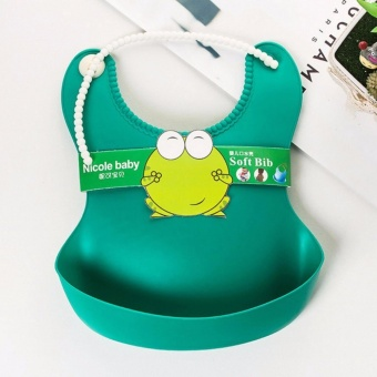 Silicone Baby Bibs Waterproof Eco Rubber Bib for toddlers - Green - 4