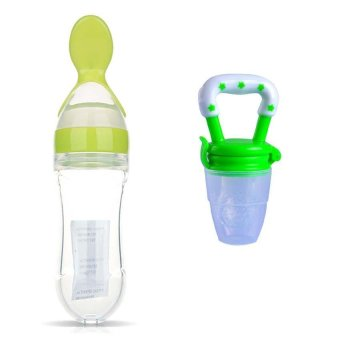Silicone Baby Feeding With Spoon Food Rice Cereal Bottle Storage + Fresh Food Nipple Teat Pacifier Bottles - intl