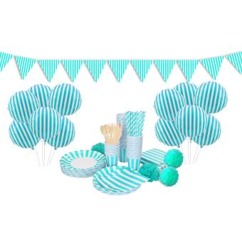 Sky Blue Stripped party theme set