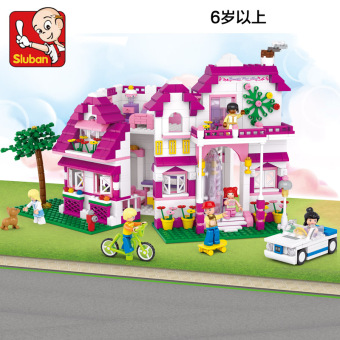 SLUBAN pink girl's Yi Zhi Series Assembled building blocks