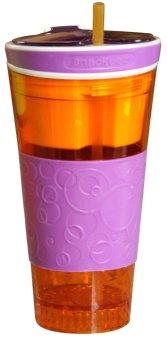 Snackeez 2 in 1 Plastic Snack and Drink Cup (Purple/Orange)