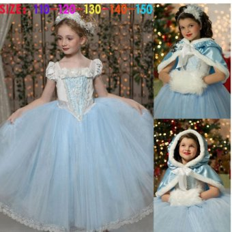 Snow Queen Outfit Costume Kids Princess Party Dress - intl