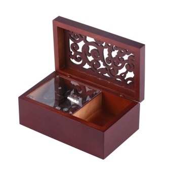 Solid Wood Miniature 18 Note Wind Up Music Box Jewelry Case (Silver Movement/Edelweiss) - intl - 2