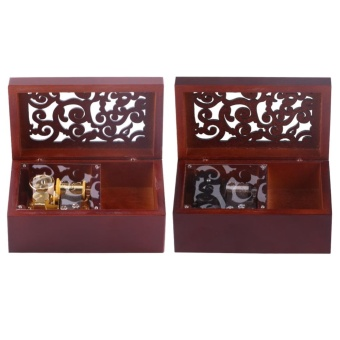 Solid Wood Miniature 18 Note Wind Up Music Box Jewelry Case (Silver Movement/Edelweiss) - intl - 4
