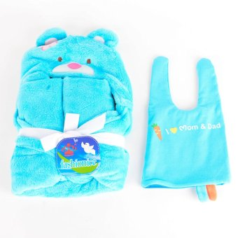 Sophie Receiving Blanket/Bath Towel with Hood with Free Bonnet(Blue)
