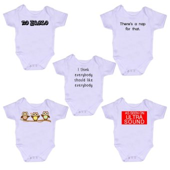 Stache Statement Printed Baby Onesie Romper White Bundle
