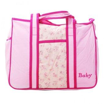 Strawberries Print Large Capacity Multi-Function Baby Diaper Changing Pad Travel Tote Bag (PINK)