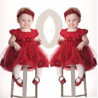 Summer Baby Kid Girl Red Clothing Dress Lace Flower Dress + Red Hairband - intl