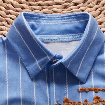Summer Boys Short Sleeve Stripe Shirt + Jeans Short Pants Set Infant Children's Clothing - intl - 2