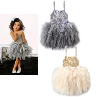Summer Girls Wedding & Birthday Party One-Piece sleevelessDresses Princess Children Clothes For Baby girl Clothing tutu dress- intl