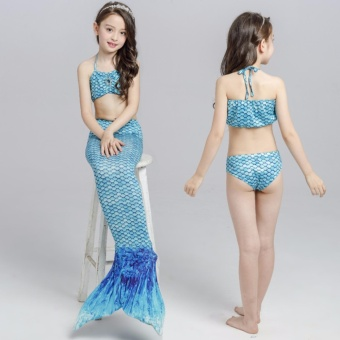 Summer Kids Girls Mermaid Tail Swimmable Bikini Bathing Set Swimwear Swim Costume Beach Wear - intl