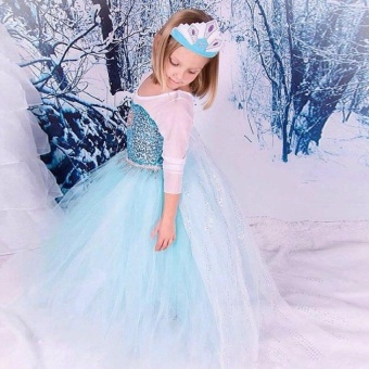 SZ Frozen Princess Dress for Kids Cosplay and Christmas 2017 New Style Costume ( Size: 140CM) - intl