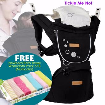 Tickle Hipseat Carrier with Sleeping Hood and Teething/Drooling Pad (Black) and with FREE Newborn Bath Towel Washcloth Pack of 8 (Multicolor)