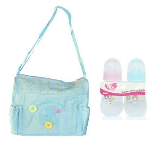 Tickle TMN-003 Cutie Diaper Baby Bag Duck Design (Blue) and withBaby Bottle 4oz 2-in1 Pack