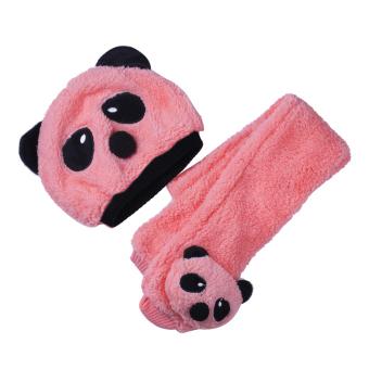 Toddler Baby Girl Boy Cap Cute Panda Kids Hat + Scarf Set Keep Warm Pink