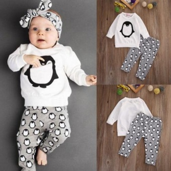 Toddler Kids Baby Boys Girls Clothes T-shirt Sweatshirt+Pants 2PCSOutfits Set 0-24M(6-12 Months) - intl