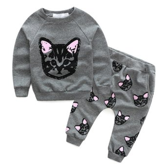 Toddler Kids Baby Girls Autumn Outfits Clothes Cat T-shirt + Pants2PCS Set