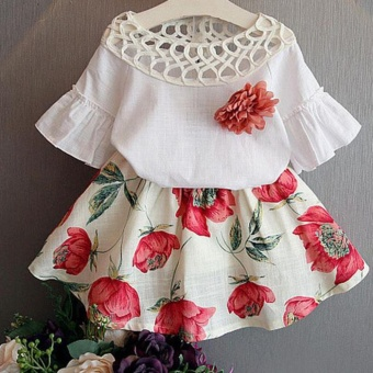 Toddler Kids Baby Girls T-shirt Tops+Skirt Dress Summer Outfits Clothes 2PCS Set - intl