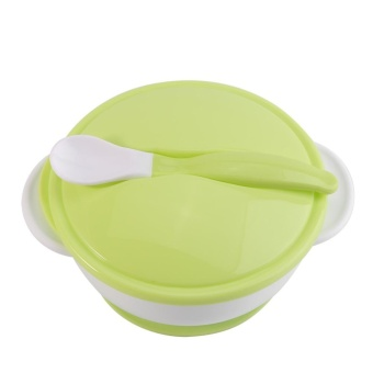 Toddler Suction Cup Bowl With Spoon Baby Food Feeding Tableware(#1White Spoon+Green Bowl) - intl