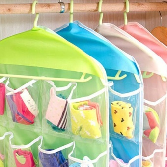 Transparent Polyester Fabric Hanging Bag with 4 Layers 16 StoragePockets Underwear Socks Storage Bags Organizer - intl - 5