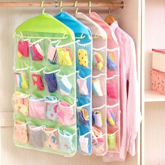 Transparent Polyester Fabric Hanging Bag with 4 Layers 16 StoragePockets Underwear Socks Storage Bags Organizer - intl