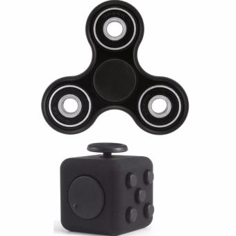 Tri-spinner Fidget Toy (Black) with Fidget Cube Magic Cube Toys #9(Black) Bundle Price Philippines