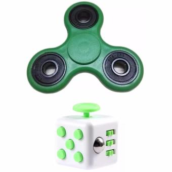 Tri-spinner Fidget Toy (Green) with Fidget Cube Magic Cube Toys #7(White&Green) Bundle Price Philippines