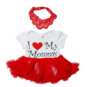 Tutu Dress I Love Mommy with Headband (White/Red) for Baby 0 to 3Months Old