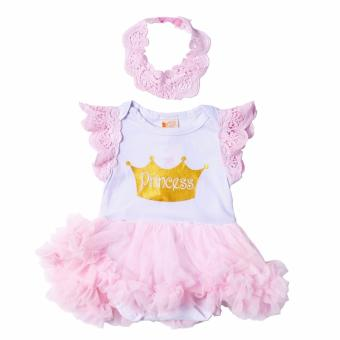 Tutu Dress Princess with Headband (White/Pink) for Baby 3 to 6Months Old
