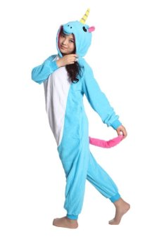 Ufosuit New Blue Unicorn Adult Animal Kigurumi Onesie Blue (Intl)