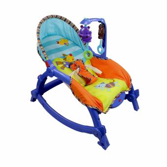 Unicorn Newborn-To-Toddler Portable Rocker Bird and Cat (Blue)