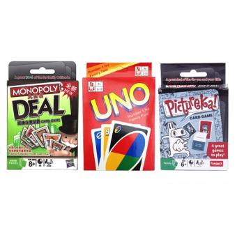 UNO Monopoly Deal Pictureka Fun Cards Game for Family Bundle