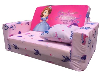 Uratex Sofia the First Princess Kiddie Sit and Sleep ConvertibleBed (Pink)