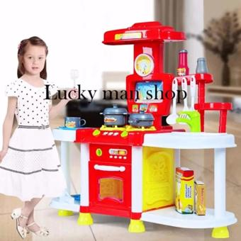 USA TOP ONE lazada and USA best selling 30 in 1 Big size Kids Children Babies Kitchen Cooking Toy Play Set with Light and Sound Educational Learning Toy Red and Plastic Cutting Fruits and Vegetables Set with Dish Play Food Set for Pretend Play - 2