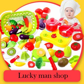 USA TOP ONE lazada and USA best selling With basket 20 Pcs/set Plastic Fruit Vegetable Kitchen Cutting Toy Early Development and Education Toys for Baby Kids Children