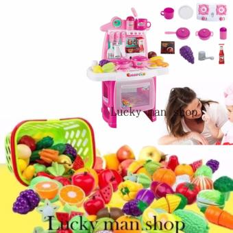 USA TOP ONE LAZADA BEST 30 in 1 Very big Kitchen Set (PINK) New design with sounds and light and Plastic Cutting Fruits and Vegetables Set with Dish Play Food Set for Pretend Play