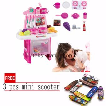 USA TOP ONE LAZADA BEST Kitchen Set (Pink) New design with sounds and light with free 3 pcs mini scooter