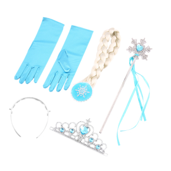 USTORE 4Pcs Cosplay Crown Tiara Hair Accessory Crown Wig +MagicWand For Elsa Anna Price Philippines