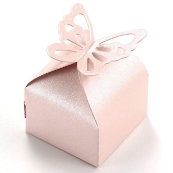 Wedding Favour Candy Boxes Gift Boxes With Butterfly 50 pcs - intl