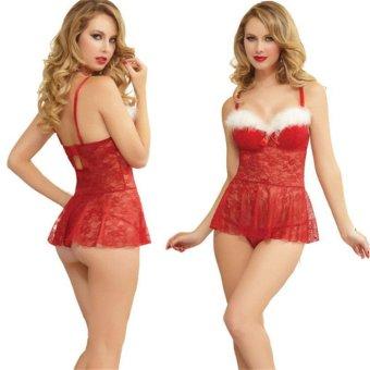 Women Santa Christmas Sexy Lingerie Red Babydoll Chemise Set FancyDress - intl - 4