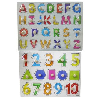 Wooden Alphabet A-Z Big Letters and Wooden Numbers 1-10 and Shapes