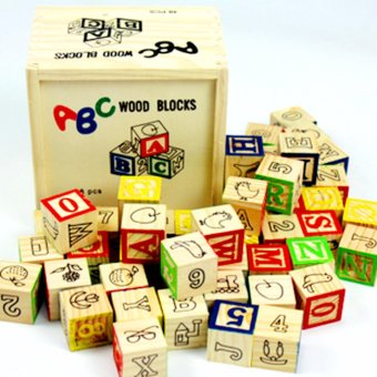 Wooden Alphabet Blocks with Wooden Box - Wooden Educational Toy