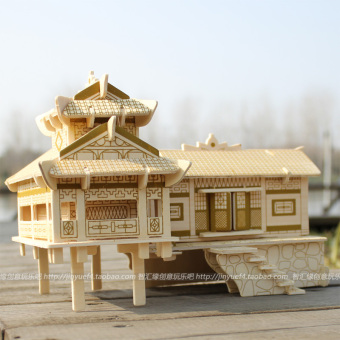 Wooden assembled house model building model three-dimensional puzzle