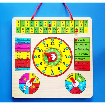 Wooden Calendar Clock Weather Seasons Learning Board - EducationalToy for Kids Price Philippines
