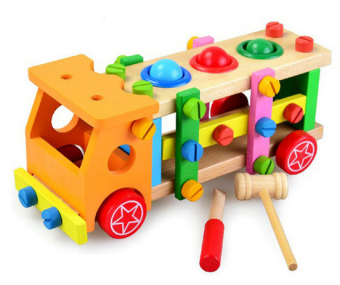 Wooden children's knock ball table Assembly toy car