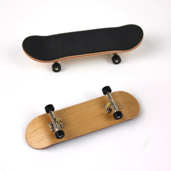 Wooden Fingerboard Finger Skate Board Grit Box Foam Tape Maple Wood Black - intl