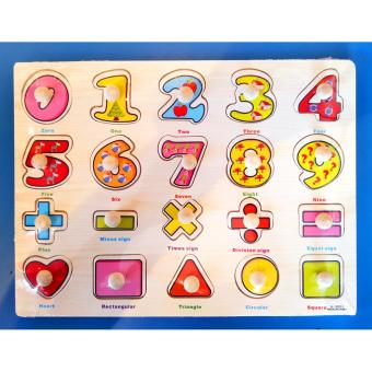 Wooden Inset Pegged Puzzle Board Numbers and Shapes Educational andTherapeutic toy for Kids