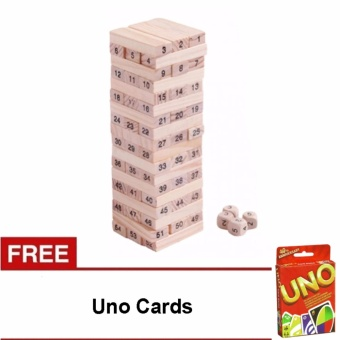 Wooden Jenga Blocks Tower Multiplayer Game Stacko Blocks with free Uno Cards